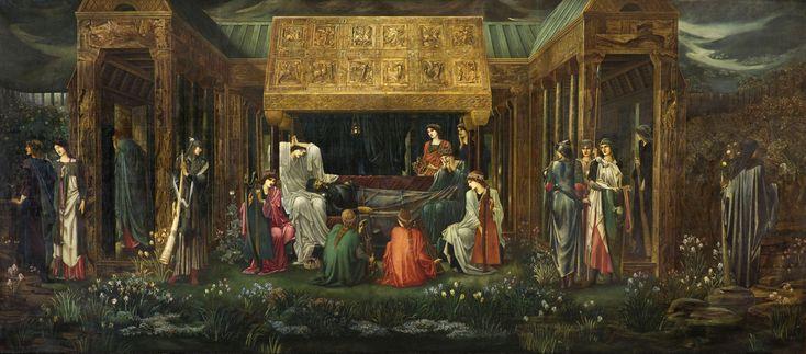 """""""El último sueño de Arturo en Avalón"""". Edward Burne-Jones."""
