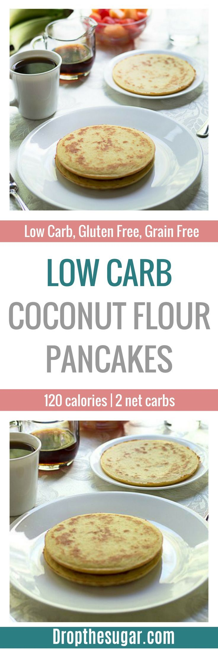 Low Carb Coconut Flour Pancakes | a low carb pancake recipe made entirely with coconut flour. If you're sick of eggs, then make sure to add this to your low carb breakfast list! Pin now to make later!