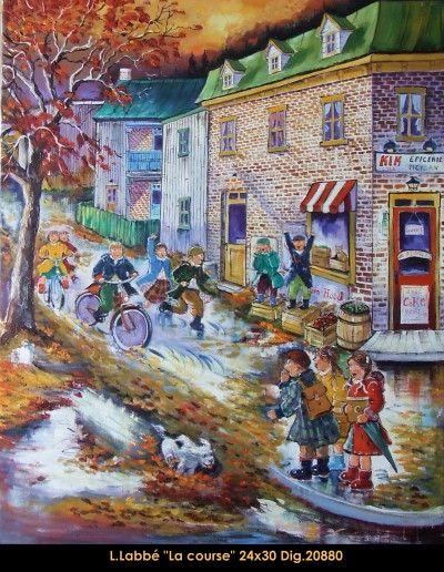 Original oil on canvas painting by Lise Labbé #labbe #art #artnaif #fineart #figurativeart #kidscharacters #fall #racingbikes #canadianartist #quebecartist #originalpainting #oilpainting #balcondart #multiartltee