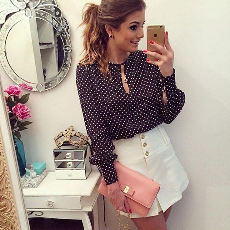 2017 Female Fashion Polka Dot Vintage Chiffon Ladies Blouse Tops Long Sleeve Black And White Women Shirt