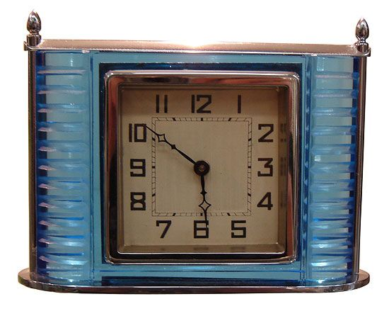 Vintage American Art Deco Blue Glass Clock, glass and chrome.