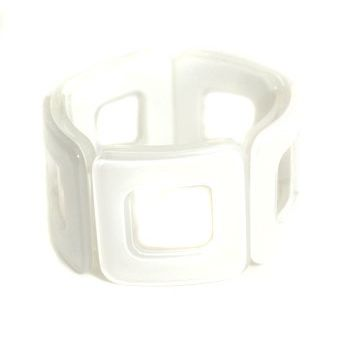 Room For Squares Bracelet - White: Stretch Bracelets, Inspiration Bracelets, Squares Bracelets, Squares Stretch, Squares Cut