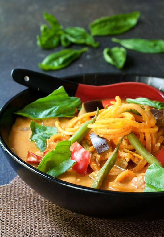 Vegetables in Thai Red Curry with Sweet Potato Noodles ~ A gorgeous, spicy, vegetarian meal just bursting with fresh-picked veggies! ~ from /www.acookbookobsession.com