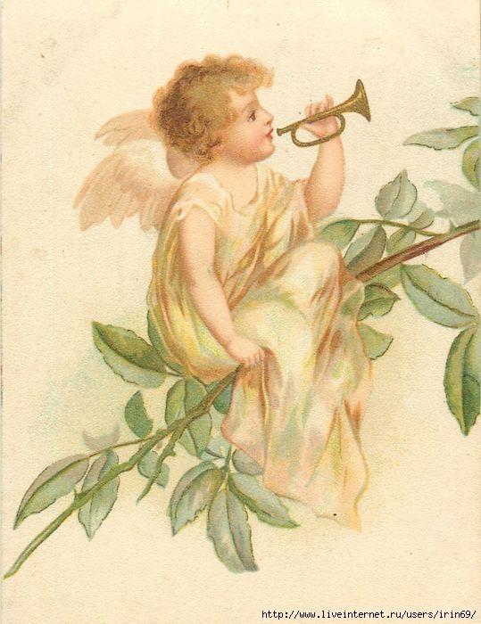 Картинки, старинная открытка ангелы