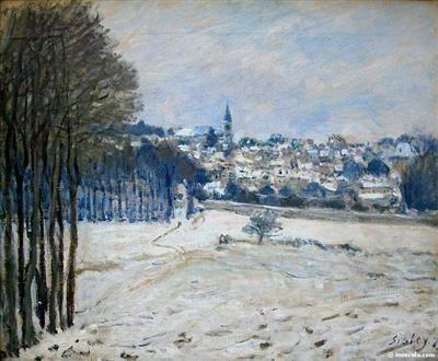 La neige à Marly-le-roi - Alfred Sisley - Tableaux et dessins