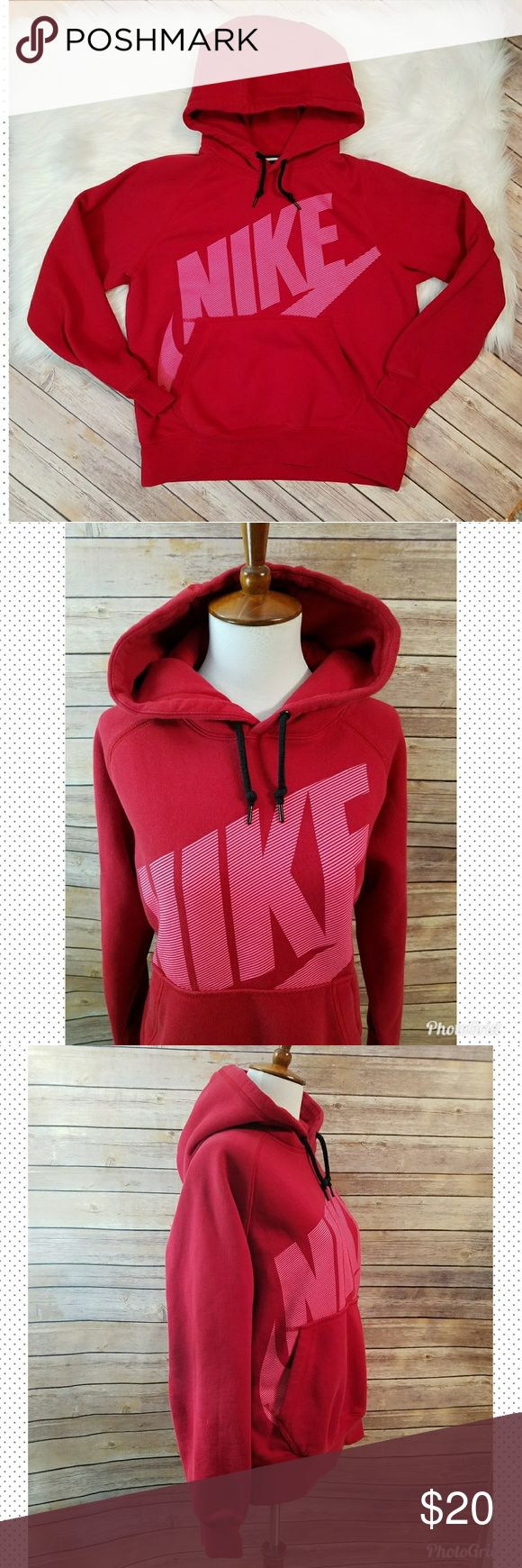 Nike pullover hoodie Size medium Red & pink Has 1 light itty bitty spot not noticeable unless inspecting closely Nike Tops Sweatshirts & Hoodies