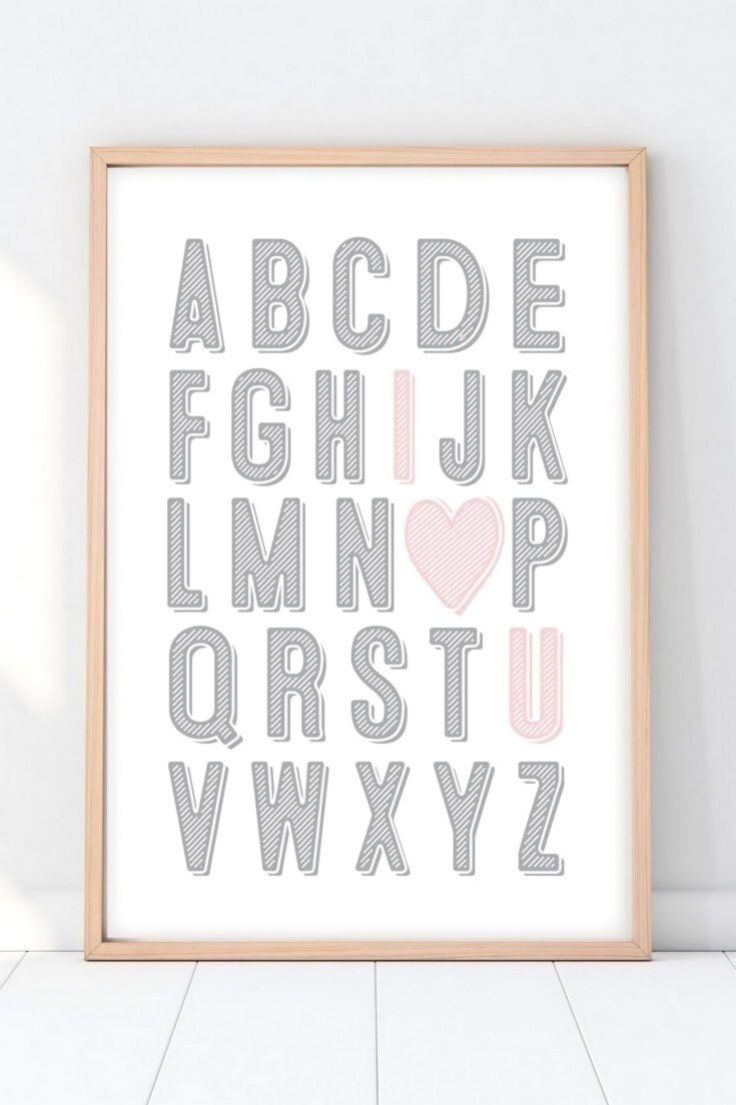 Grey And Pink Nursery Art Abc Wall Art Alphabet Nursery Art Girl Nursery Wall Decor I Love You Art In 2020 Nursery Wall Decor Girl Girl Nursery Wall Baby Girl Room