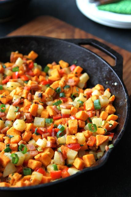 Sweet Potato Hash with Canadian Bacon, Red Pepper, & Sage