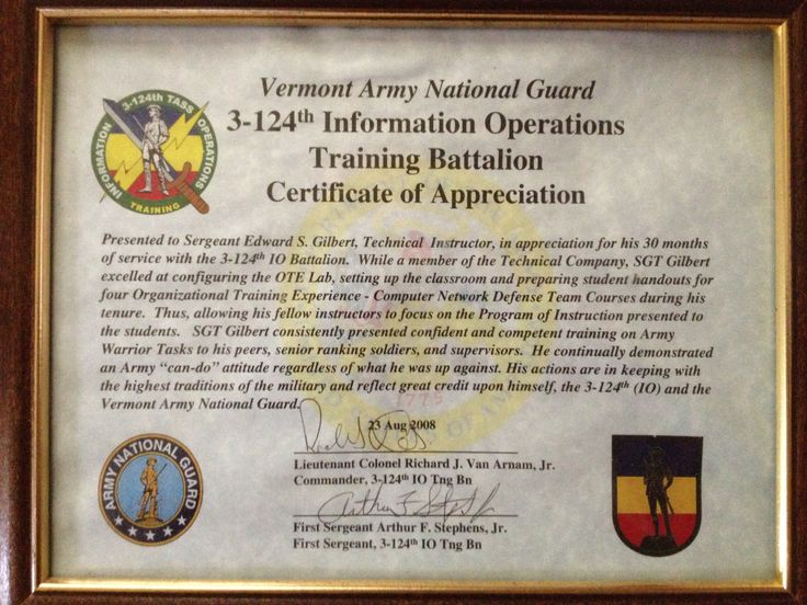Vermont Army National Guard 3rd-124th IO Training Battalion Certificate of Appreciation