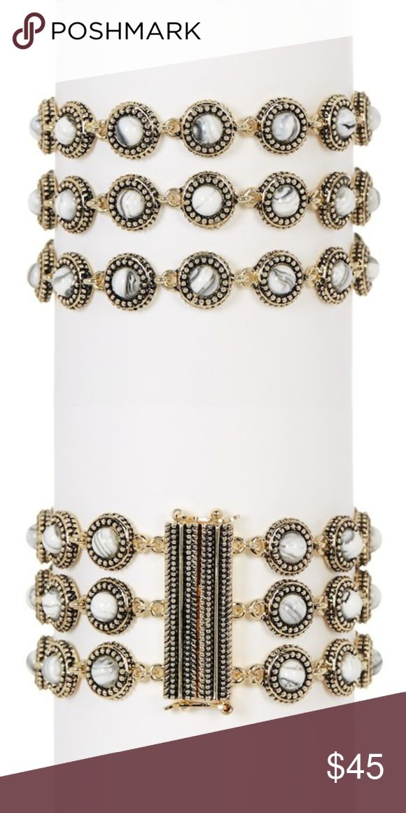 """House of Harlow 1960 Cuzco Triple Row Bracelet House of Harlow 1960 Cuzco Triple Row Bracelet  About This Item Details - Gold-tone resin stone triple row bracelet - Sliding hook clasp with safety latches - Approx. 7"""" L x 1"""" W - Imported Materials Nickel-free and lead-free tin alloy, resin House of Harlow 1960 Jewelry Bracelets"""