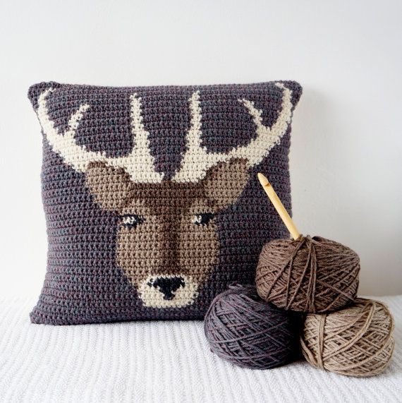 "Crochet your own Stag Cushion!  Inspired by woodland animals and the English countryside, this cushion is great to make with full instructions. Includes colour change chart and photos to guide you through making this delightful cushion. With a buttoned opening on the back to take the pad in or out for washing. Ideal to brighten up any seat or room and great to make for a gift! **Included in the Instant Download are both the English and American versions of this pattern**  Finished size; 16""…"