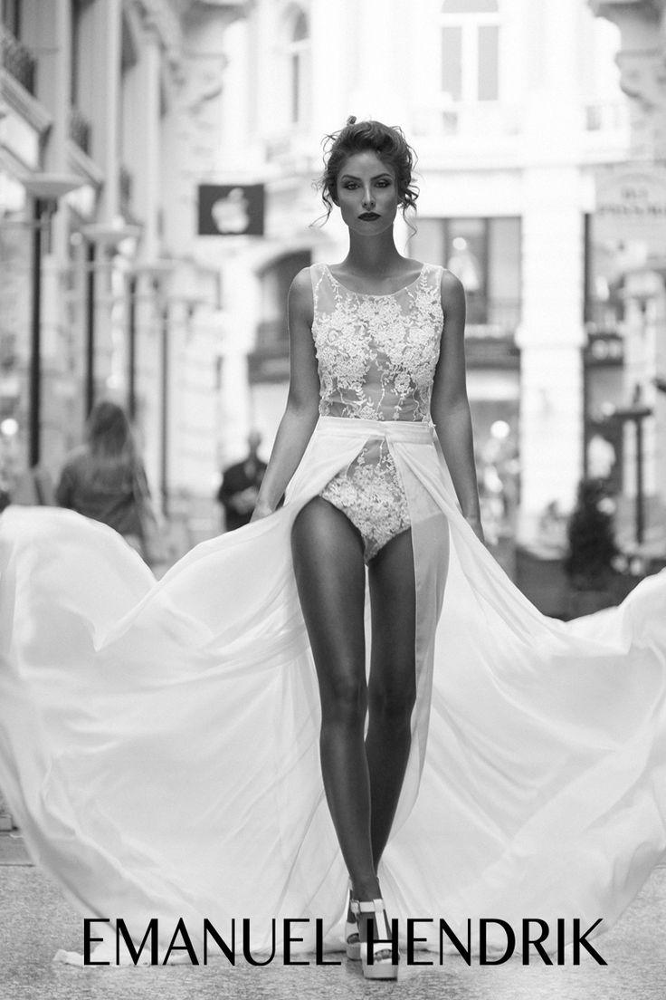EMANUEL HENDRIK   Body: Shine - Schleppe: Nina   Hochzeitskleid / Wedding Dress - Hochzeit - Braut - Fotoshootings  - Schwarz Weiß / Wedding / Düsseldorf - München / Duesseldorf - Munich / Handgefertigt - Handmade / Amsterdam - Netherlands - Europe / City Style - Model / Body - Spitze - Tüll - Tulle - Schleppe - Chiffon / Fashion - Bridal Couture