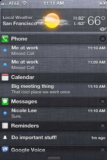 Notifications Center on iPhone iOS 5