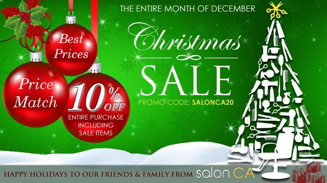 December is here so to get you ready for the holidays SalonCA is having a 10% OFF SALE all December long on all items including sale items, so HURRY and Call in today and take advantage of our Christmas sale.  http://salonca.com/