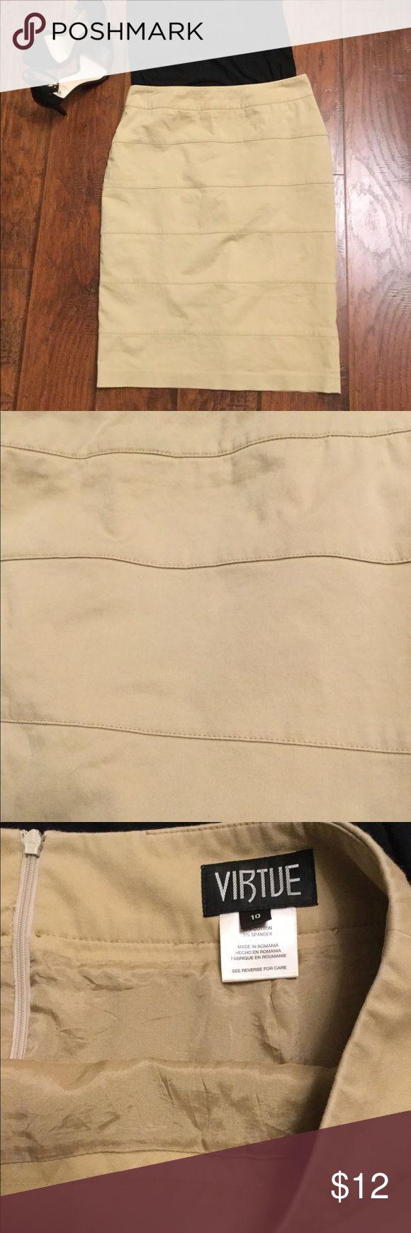 "Khaki Pencil Skirt Khaki colored banded Pencil skirt. Size 10 Fully lined  cotton/spandex blend Back zip closure with bottom slit. 24"" long Virtue Skirts Midi"
