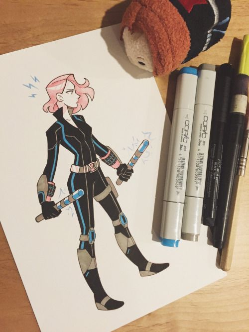 Black Widow by Chanarts (on Tumblr) - More of this adorable art!! Love it so much. ^-^