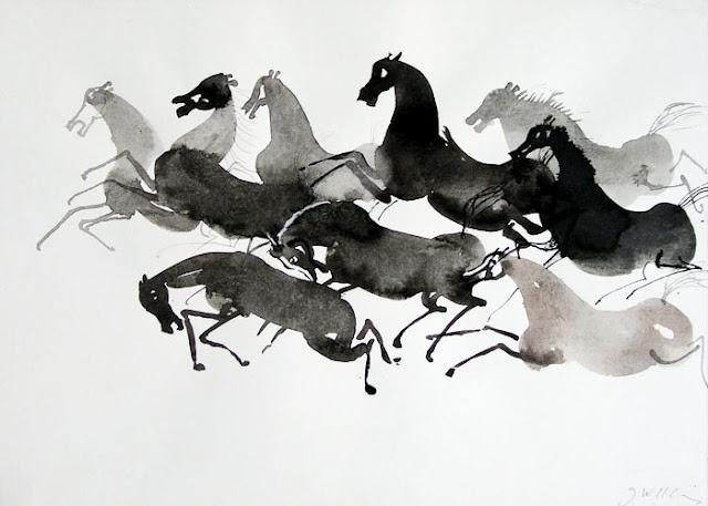 Horses by Polish artist Józef Wilkon