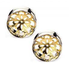Gold Plated Flower Mandala Surgical Steel Tunnel Plugs - 2G-1 - Pair