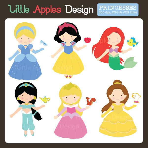 Fairytale Princess Clipart 2 - adorable clipart for invitations, scrapbooking, card making and more.