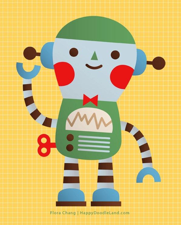 Little Robot Print   Flora Chang, Happy Doodle Land