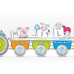 Origineel kaartje met een tractor en vrolijke boerderijdieren die de letters uit de naam van jouw kindje vasthouden. Een leuk geboortekaartje in een bijzondere vorm, voor een jongen. Het kaartje kan door de zigzagvouw rechtop blijven staan.Formaat: 430 x 100 mm, gevouwen formaat (dit is de maat van de tractor): 145 x 100 mm. Zigzagvouw.