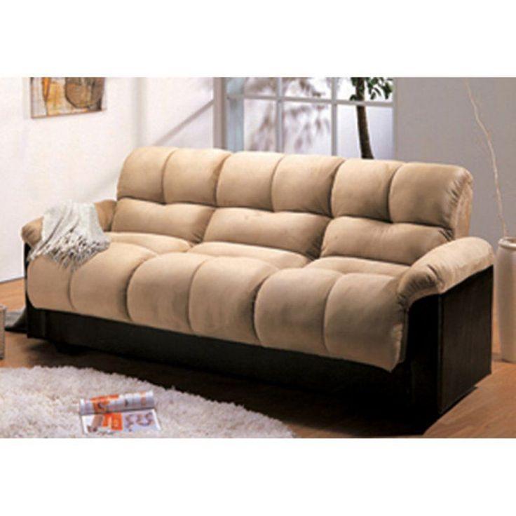 Bento Beige Faux Leather Mini Futon Sofa Bed Thesofa