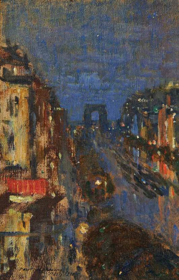 The Athenaeum - Champs Elysées, Night (1938) (Constantin Alexeevich Korovin - )