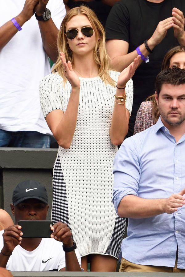 Karlie Kloss in a knit dress and aviator shades at Wimbledon