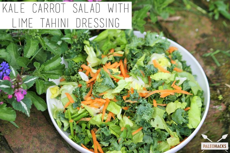 Kale Carrot Salad with Lime Tahini Dressing
