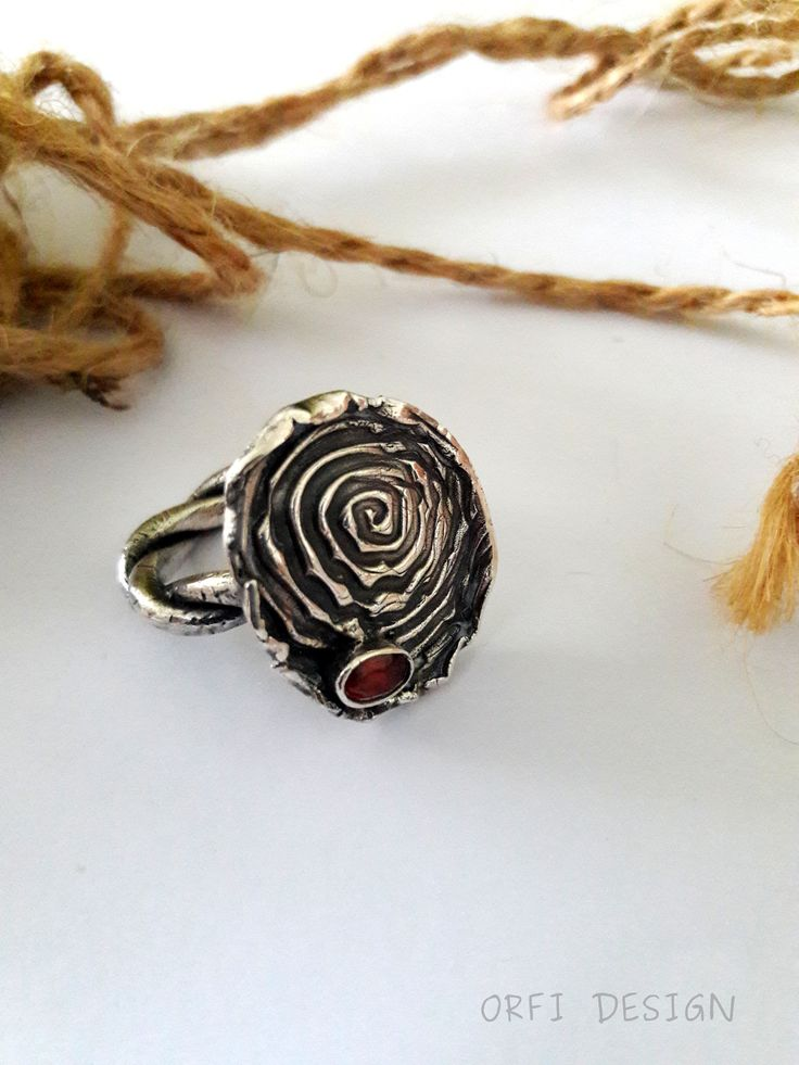 Silver clay ring with garnet ...bohemian style...