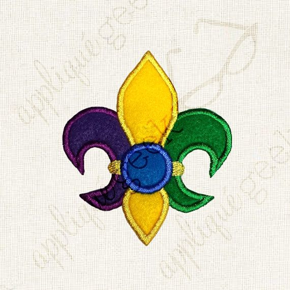 Fleur de Lis with Monogram Circle Applique Embroidery Design
