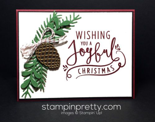 Wonderful Year stamp set & Perfect Pines Thinlits Dies pair up for this holiday card!  Mary Fish, Stampin' Up! Demonstrator.  1000+ StampinUp & SUO card ideas.  Read more http://stampinpretty.com/2016/09/creating-a-wow-with-wonderful-year.htmlideas.  Read more http://stampinpretty.com/2016/09/creating-a-wow-with-wonderful-year.html