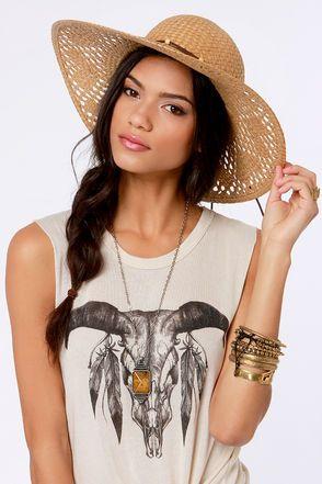 Roxy Shady Days Tan Straw Hat at LuLus.com!