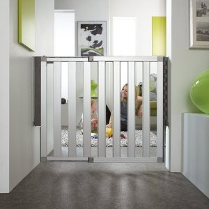 The Lindam Numi Extending Aluminium Safety Gate is a combination of fine design, advanced technology and unparalleled safety.  http://www.babysecurity.co.uk/lindam-numi-aluminium-stair-gate-66-101cm.html