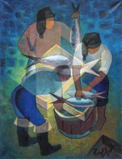 Louis TOFFOLI (1907-1999) Pêcheurs à Nazaré - 1966 Huile sur toile Signé en