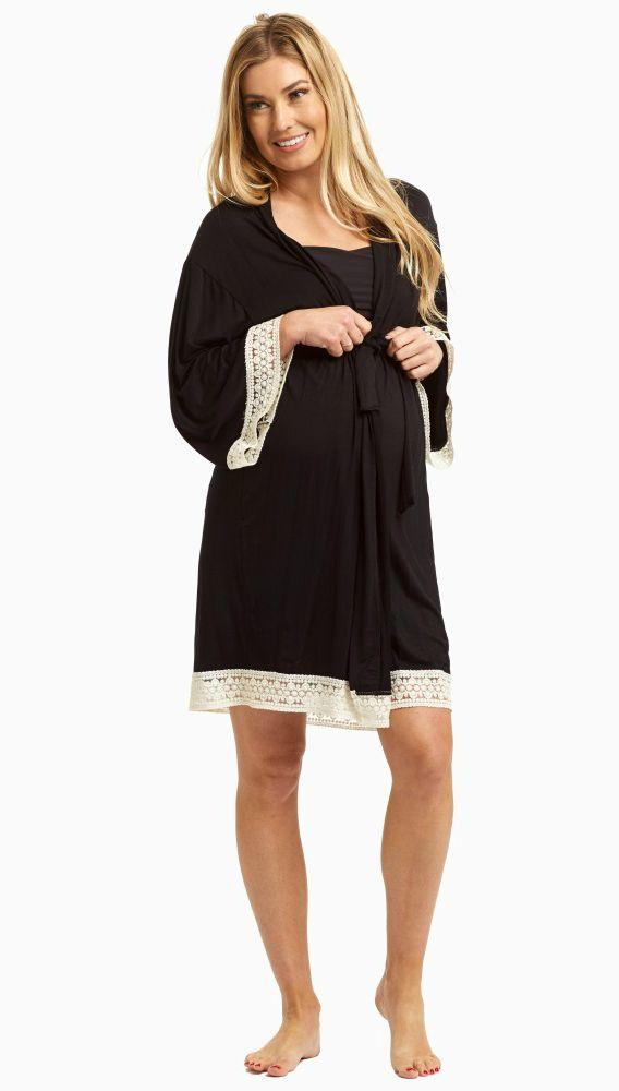 This solid delivery/nursing maternity robe will make sure your visit during and after the delivery is comfortable and stylish. This robe with a crochet detail will make you feel beautiful through all of motherhood's transitions. With the perfect pale hue, feminine design, and lightweight material, you can have a beautiful piece to keep cool in.  Perfect for women's and maternity.