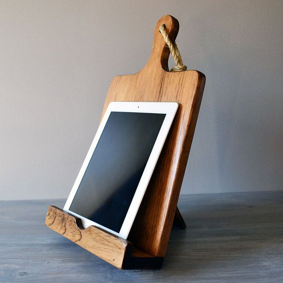 iPad And Cookbook Stand Combo Rustic Wood Cutting Board by Roostic, $35.00 - how perfectly simple / genius is this?