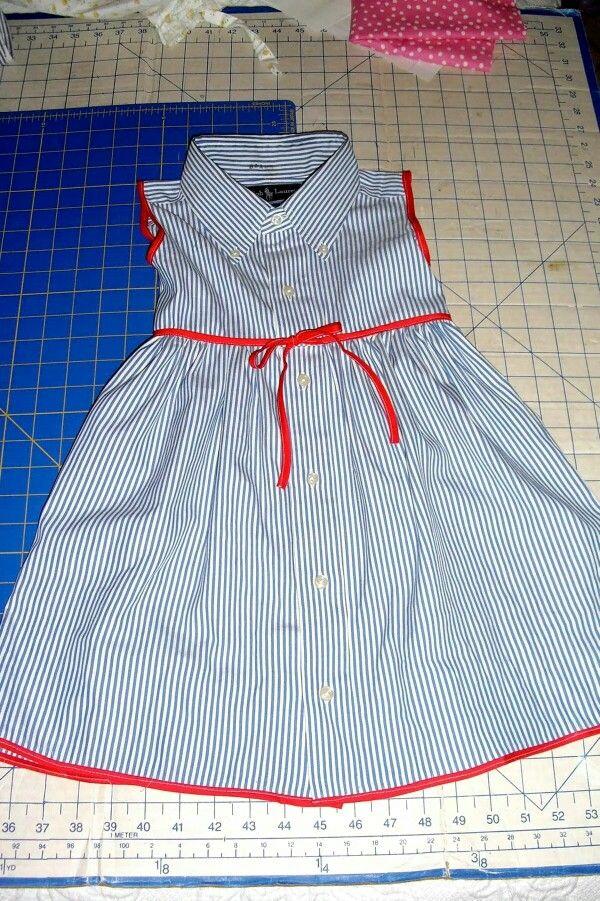 Aus einem Herrenhemd ein Mädchenkleid