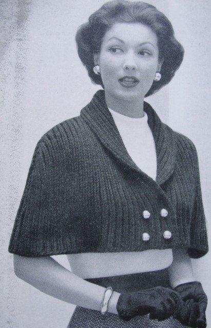 Patrón de descarga instantánea 1950 Lovely Cape Stole Wrap PDF Patrón de tejer Classy Shawl Collar Front Button Capelet