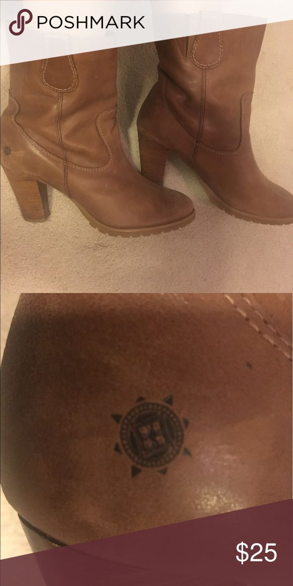 "Ruff Hewn Tan ankle boots Tan colored ankle boots with 3"" heals Ruff Hewn Shoes Ankle Boots & Booties"