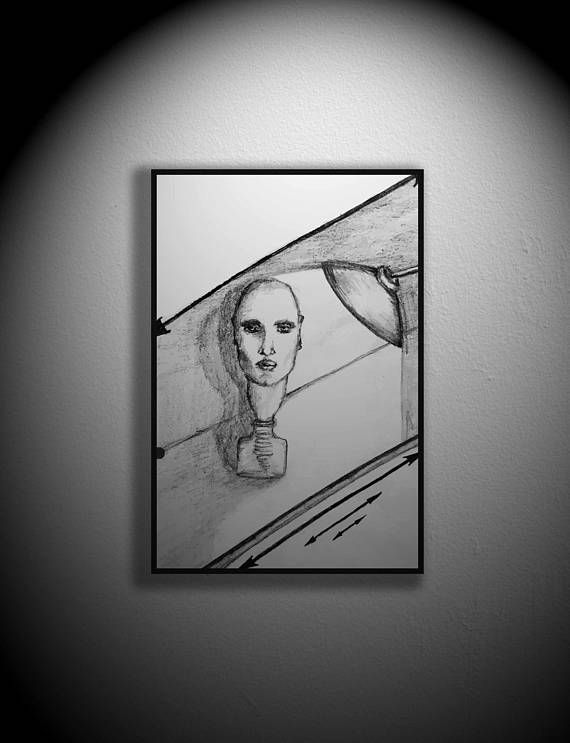 genie in a bottle drawing vector abstract minimalist art black and white instant download human head