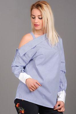 omuz Açık Mavi Çizgili bluz