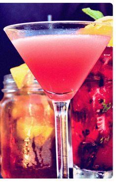 Bar Louie's Tickled Pink! One of my very favorites! X-Rated Fusion Liqueur, DeKuyper Peachtree, cranberry and orange juices