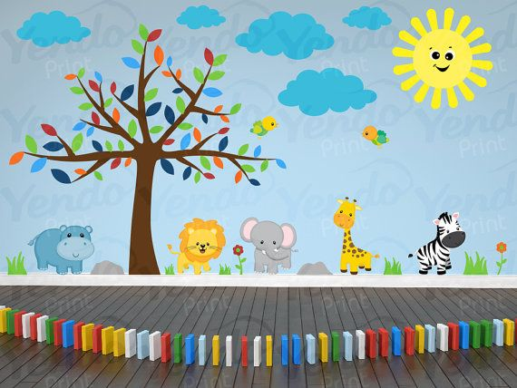 Jungle Decal - Jungle Wall Decal - Kids Wall Decals SET - Sunny Safari  - Baby Boys Girls Bedroom Room