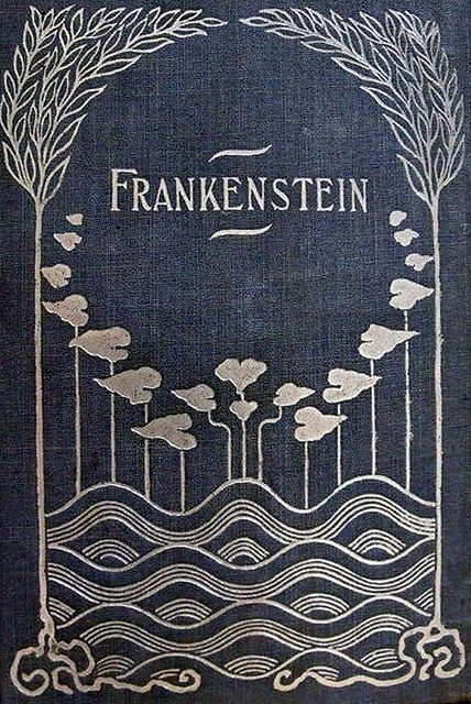 Art nouveau book cover of Mary Shelley's Frankenstein from 1818, metal detail on blue fabric