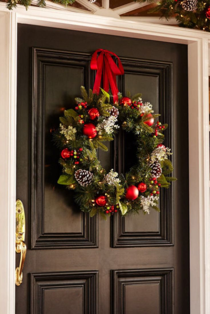 Pre-lit Christmas wreath for front door. #ad
