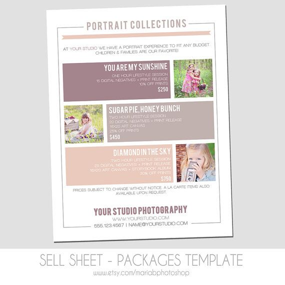 Sell Sheet - Collections  or Packages Pricing Template - Photography Marketing Template- 8.5 x 11 size - Newborns - Seniors - Families