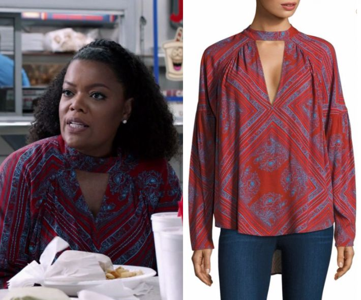 """by Kirsty0 Comments Dina Rose (Yvette Nicole Brown) wears this red and blue keyhole cut out blouse in this episode of The Mayor, """"Buyer's Remorse"""". It is the Free People Patterned Choker Top."""