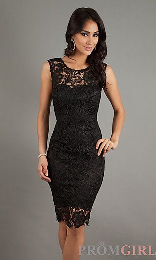Sleeveless Lace Knee Length Dress at PromGirl.com  Similar to the Tom Ford dress I love!!!