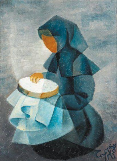 La brodeuse. Huile sur toile 1970 de Louis TOFFOLI (français 1907 - 1999)